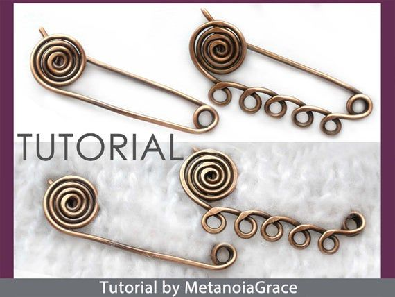 Photo of Spiral Safety Pin Tutorial, Wire Jewelry Tutorial, Kilt Pin Brooch Tutorial, Shawl Pin Tutorial, Scarf Pin Pattern, Wire Wrapping Tutorial
