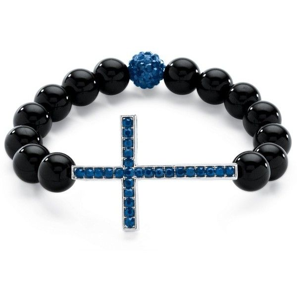 Simulated Birthstone and Onyx Cross Bracelet ($34) ❤ liked on Polyvore featuring jewelry, bracelets, blue, jewelry & watches, cross jewelry, imitation jewellery, twist jewelry, artificial jewelry and cross bangle