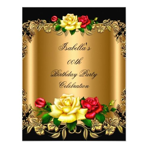 Elegant Golden Red Yellow Roses Birthday Party 2b Invitation Rose
