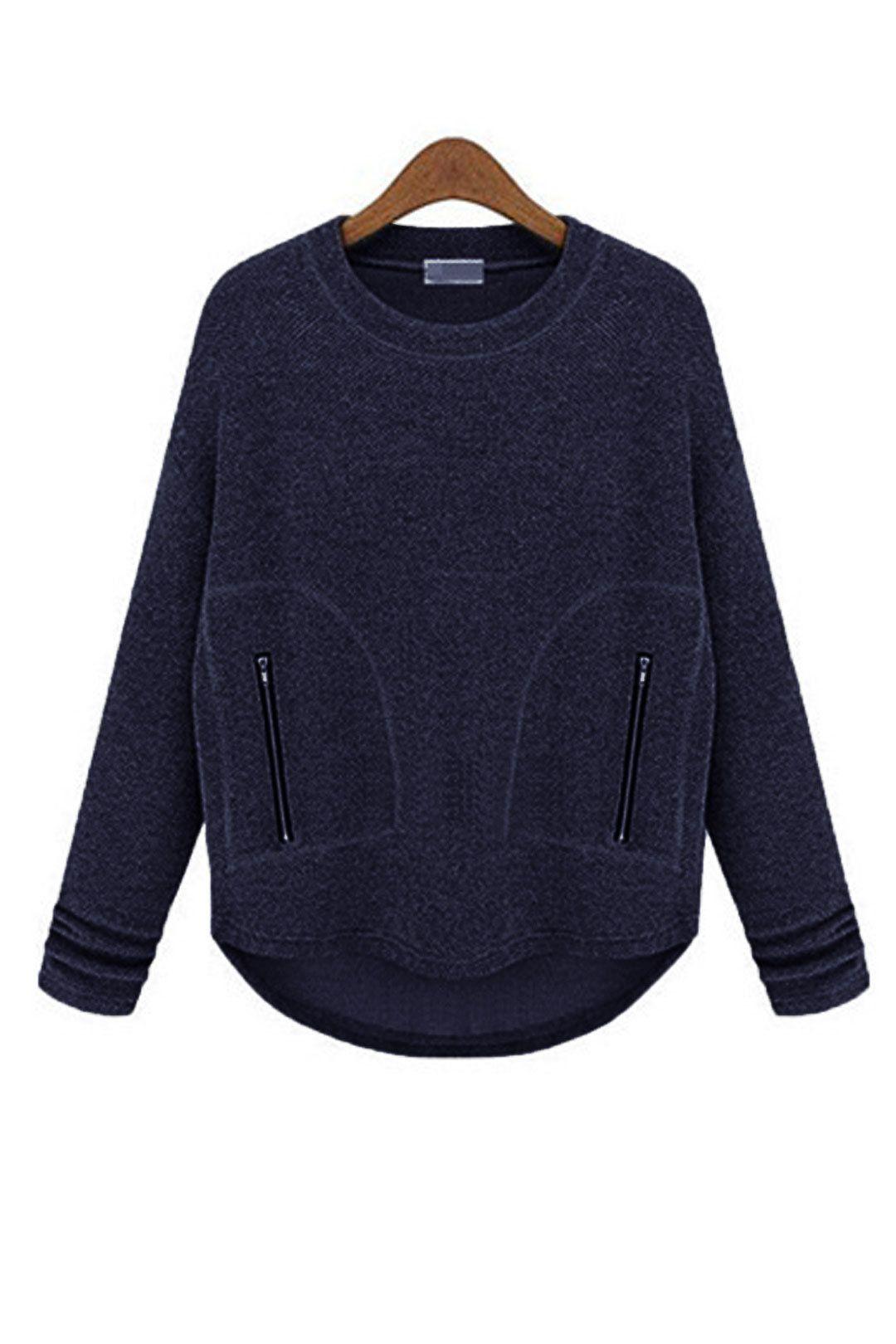 Esta gola redonda características da camisola, luva longa e bolso com zíper. Adapta-se para o seu dia desgastando ocasionais no outono e inverno. Basta preenchê-lo com um namorado jeans e um par de botas de tornozelo.