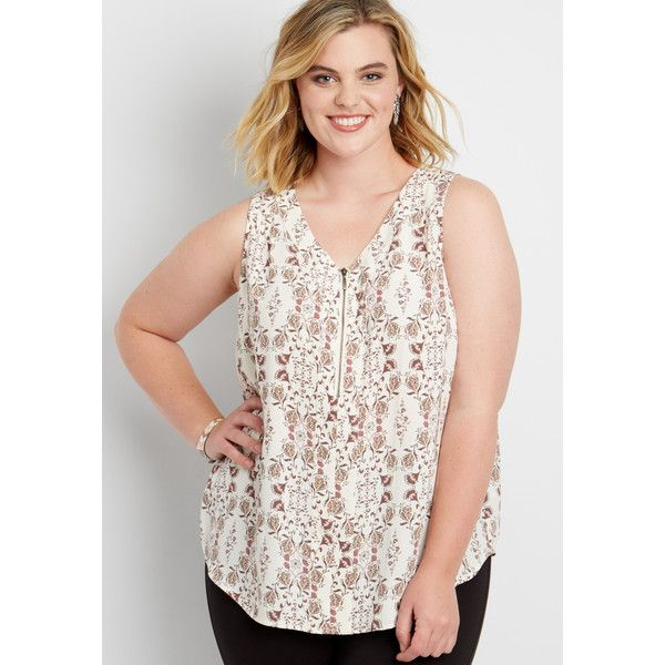 0d17bd0781b79 maurices Plus Size - The Perfect Sleeveless Blouse With Zipper... ( 29) ❤  liked on Polyvore featuring tops
