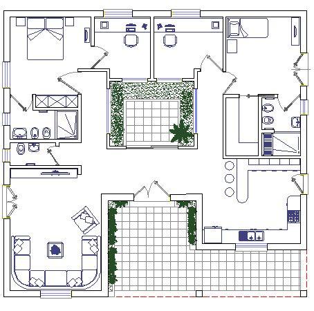 Architettura in stile libico pianta di abitazione for Monolocale dwg
