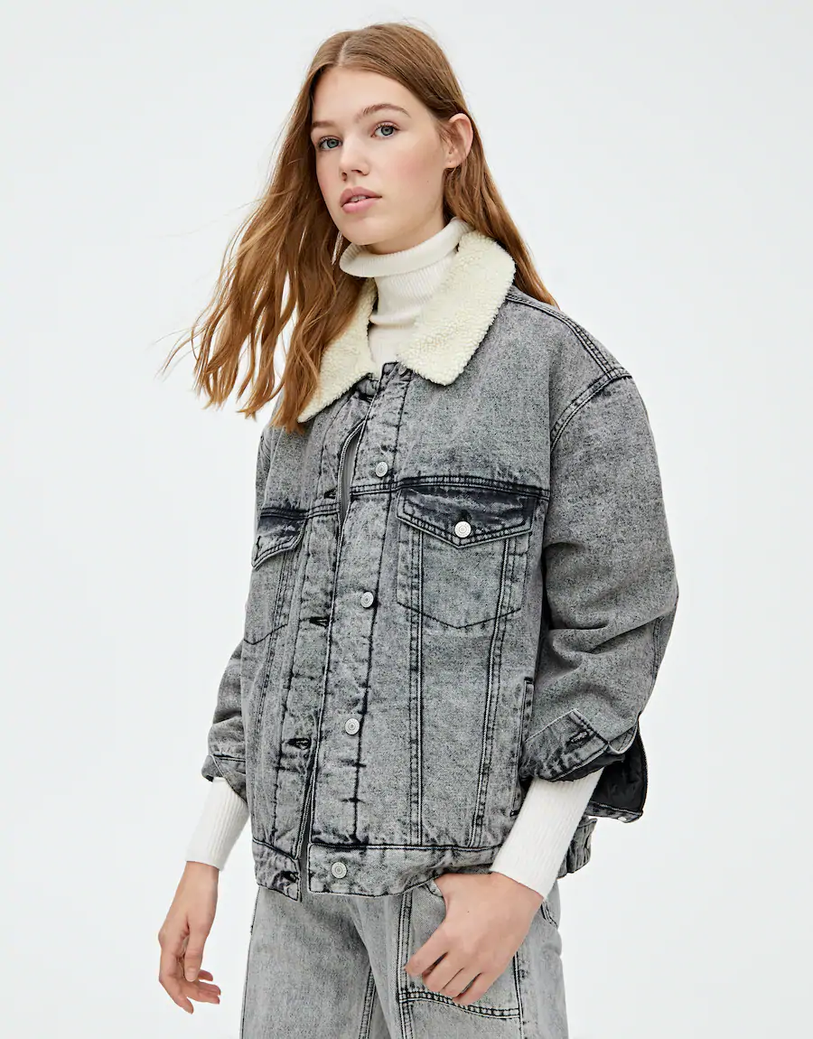 Black Denim Jacket With Faux Shearling Pull Bear Black Denim Denim Jacket Spring Outerwear Women