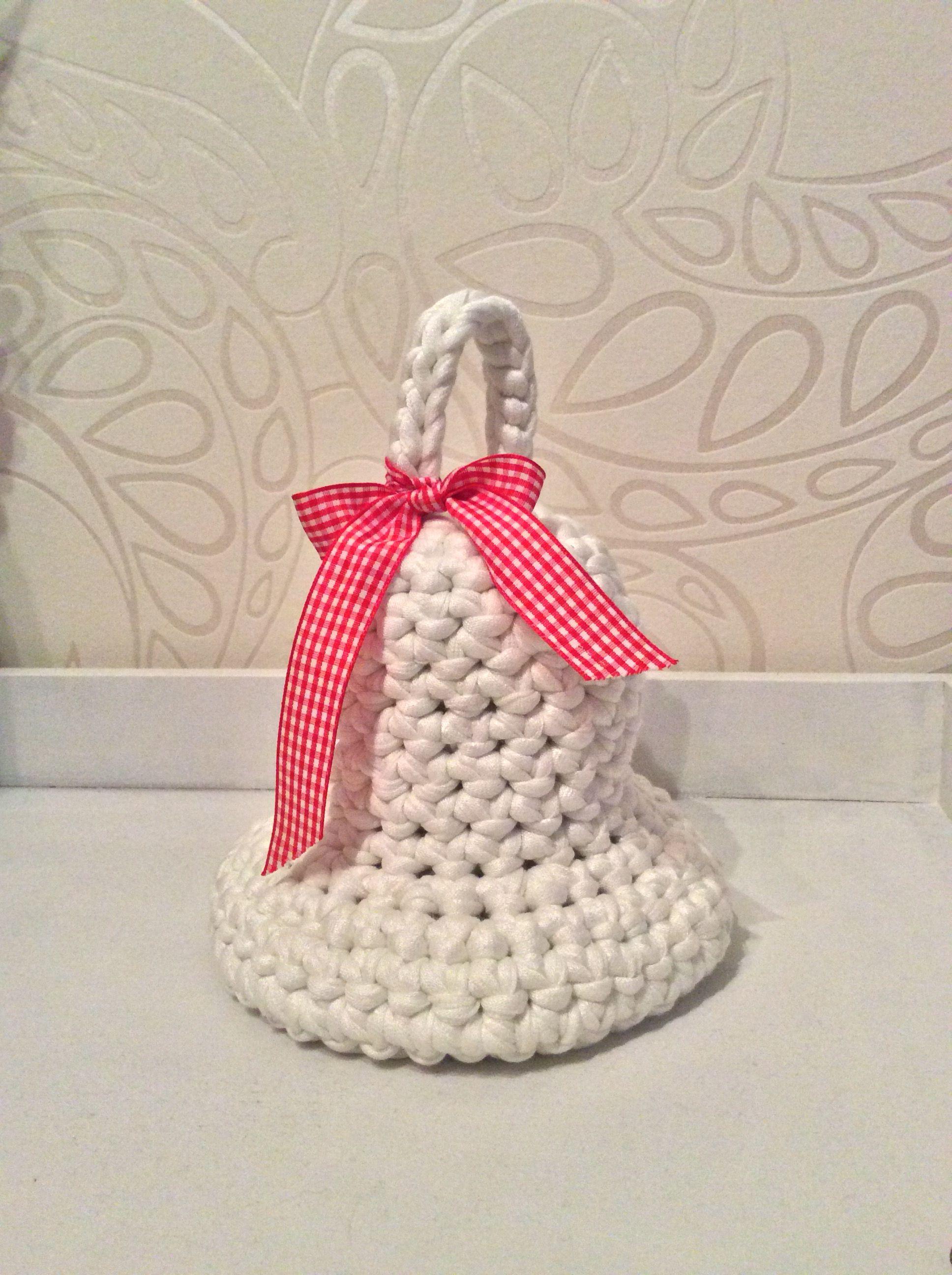 Kerstklok Haken Met Zpagetti Jesscreations Crochet Baskets