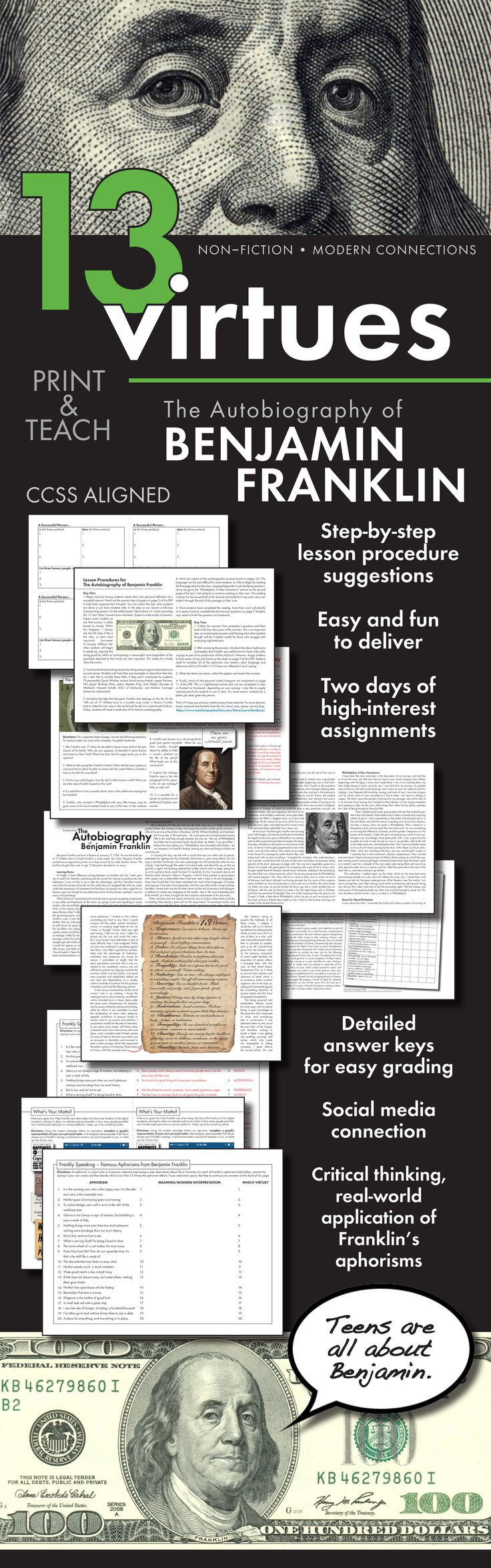 Ben Franklin S Autobiography Informational Text With Modern Connections Ccss Teaching American Literature Literature Teacher Teaching Literature
