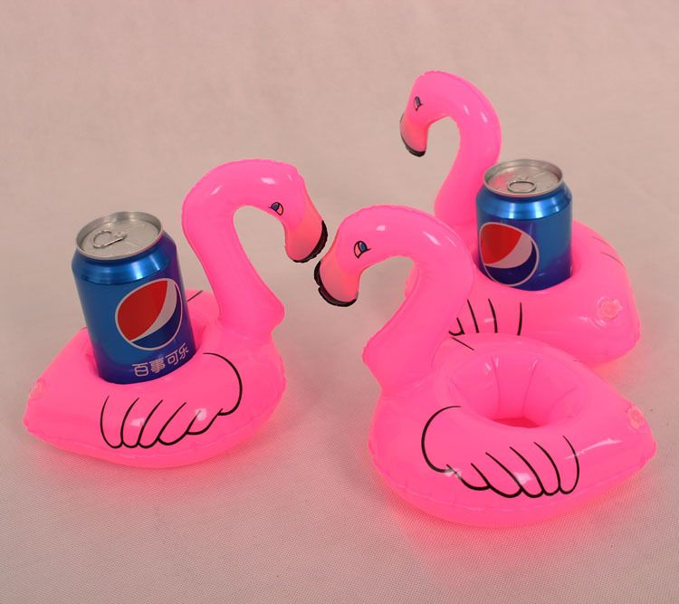6 Mini Flamingo Float Inflatable Drink Can Holder Pool