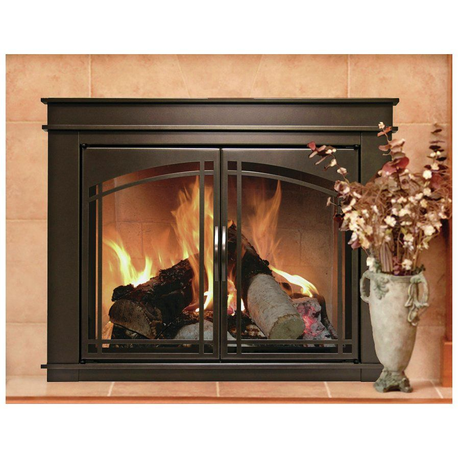 Fenwick Cabinet Style Fireplace Screen Arch Prairie Smoked Glass Door Fireplace Glass Doors Fireplace Doors Glass Fireplace