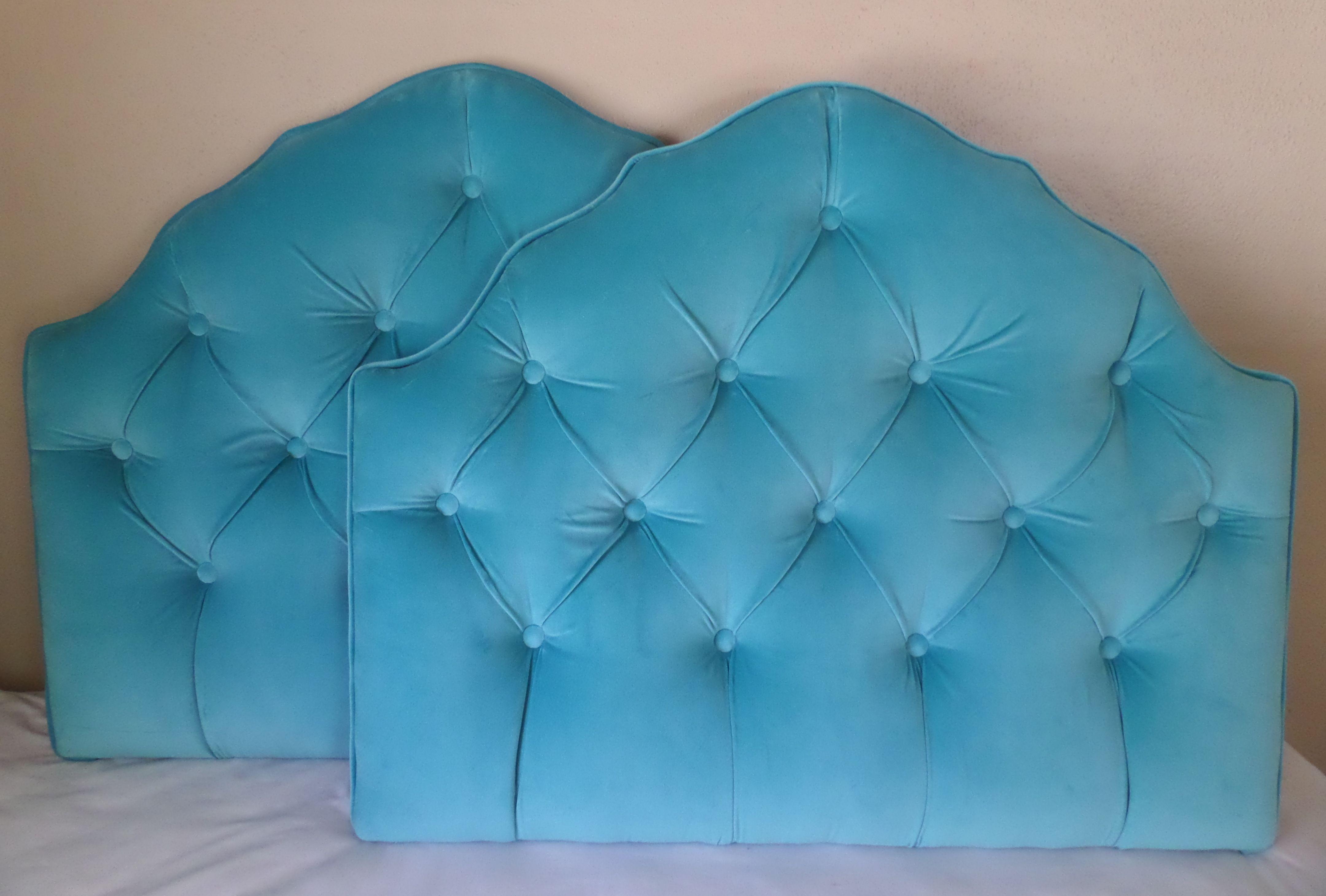 Twin size turquoise aqua velvet headboard tufted upholstered. Custom ...