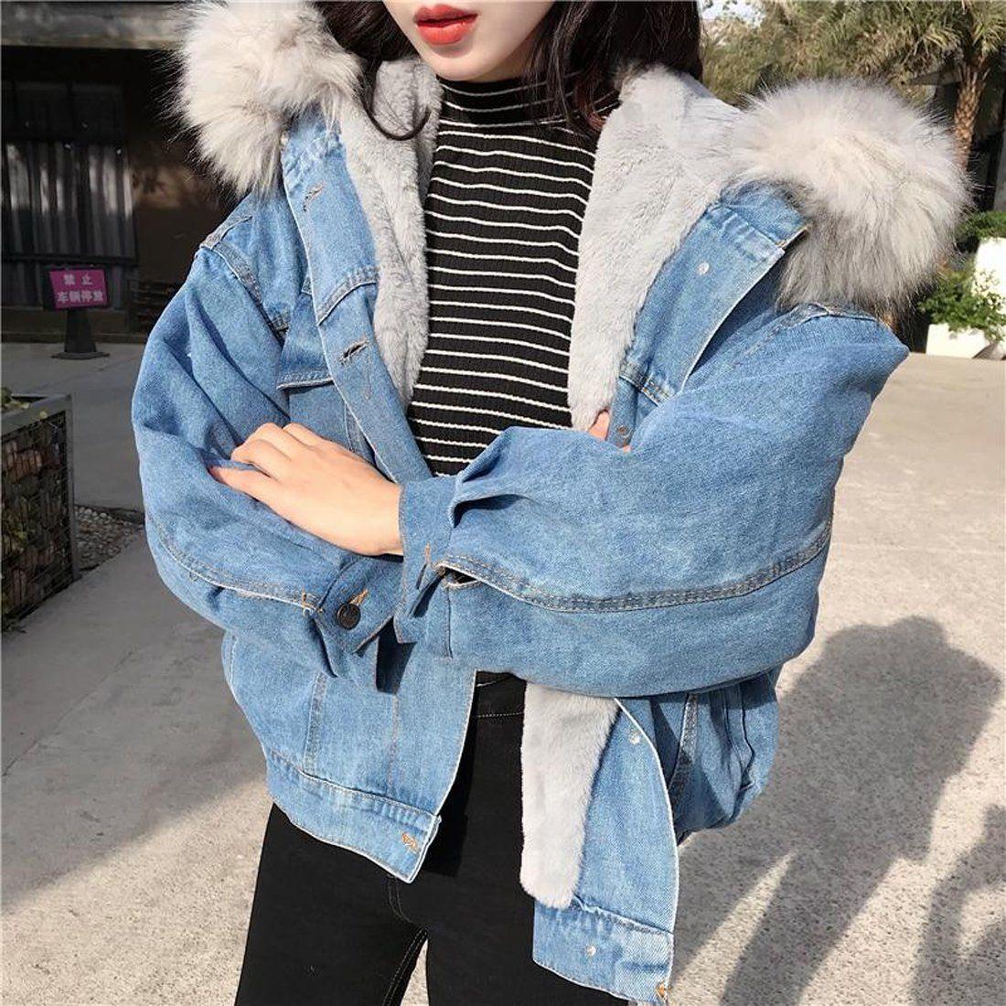 Women S Jean Jacket Big Faux Fur Collar Oversized Batwing Sleeve Denim Wool Liner Velvet Warm Hooded For Winter Jackets For Women Winter Jackets Women Denim Jacket With Fur [ 1100 x 1100 Pixel ]