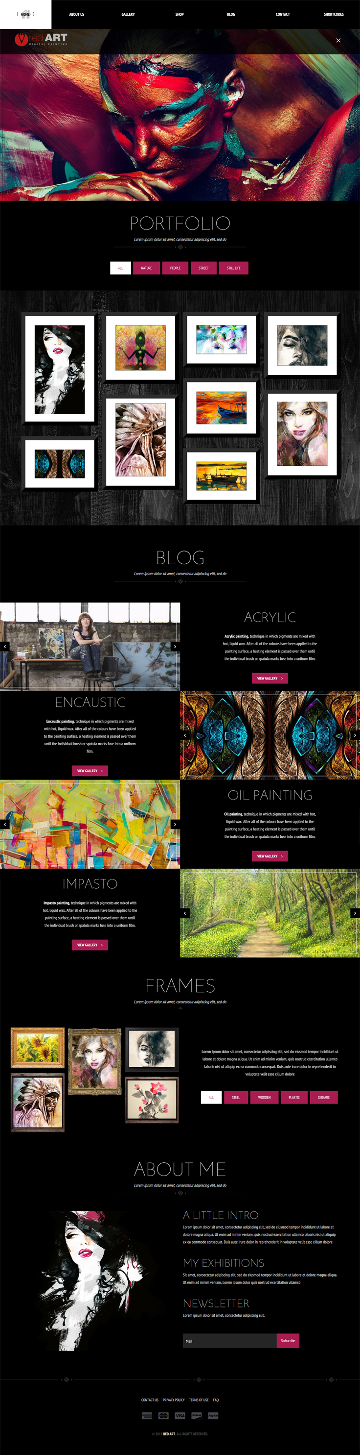 Red Art Is Creative Website Template Best Suited For Art Gallery - Art gallery website templates