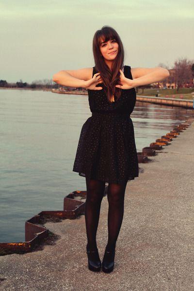 Gold dress black tights heels