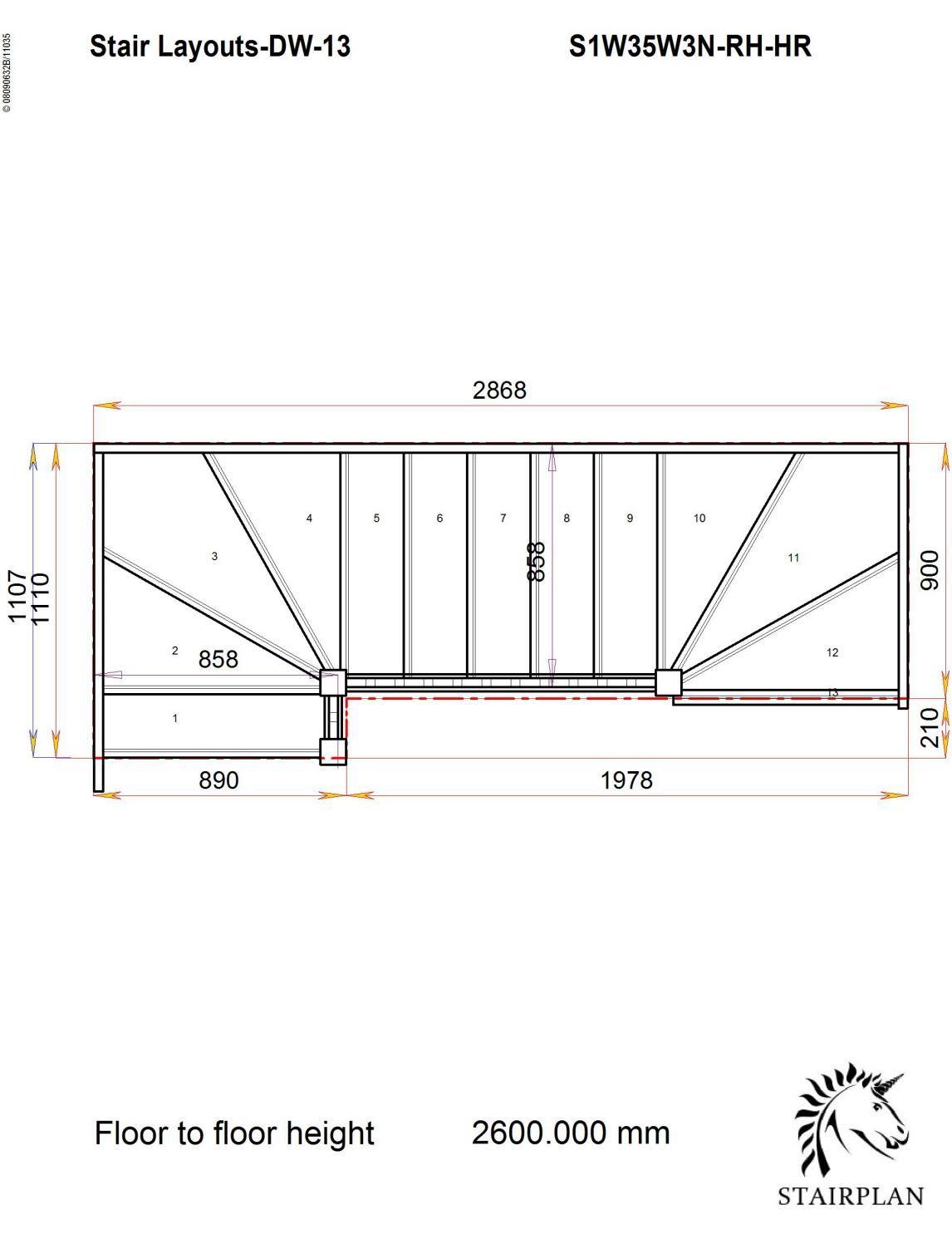 hight resolution of tradestairs rh double winder handrail