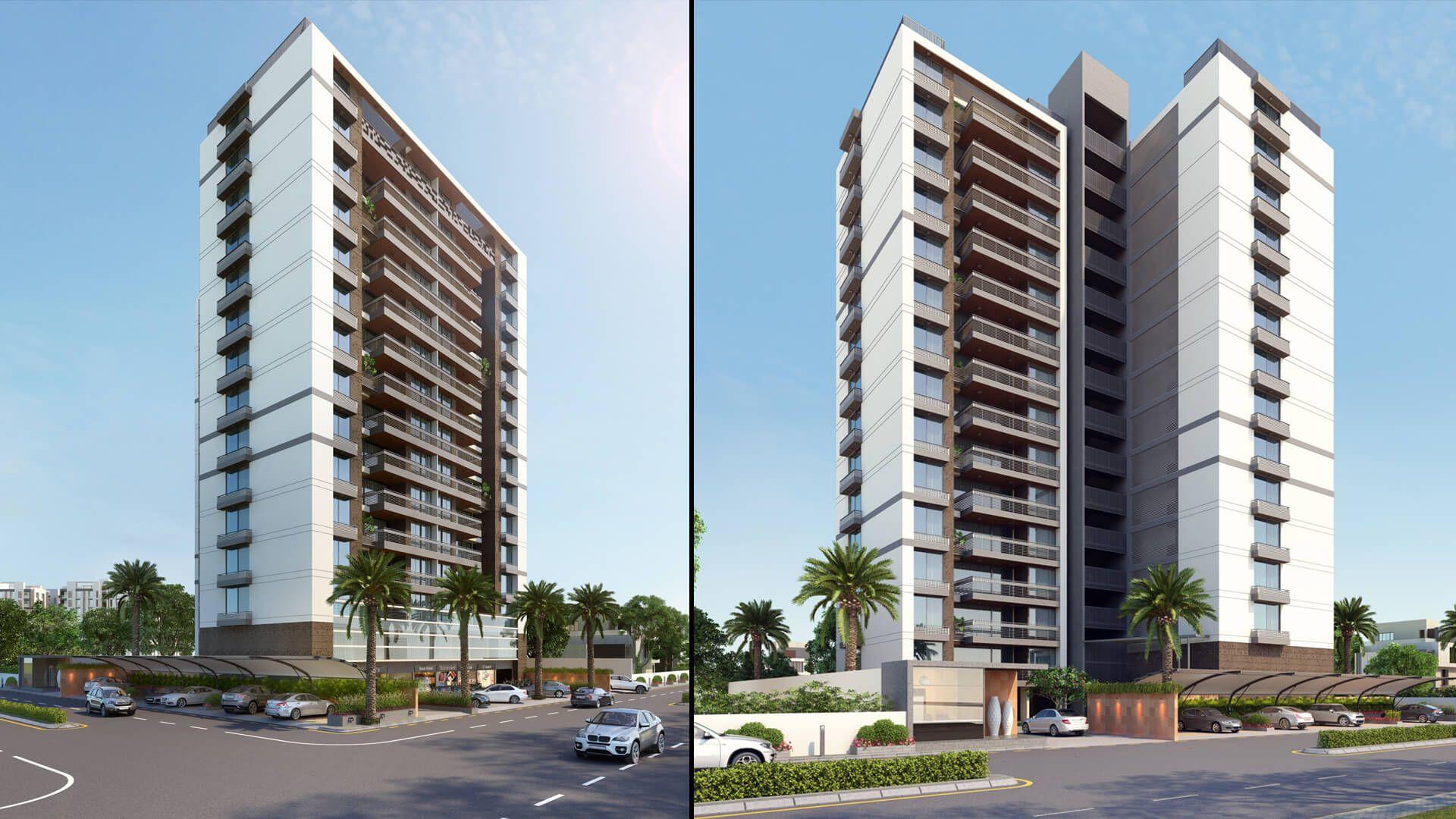 Exterior: 3D HI-Rise Building Exterior Day View Design