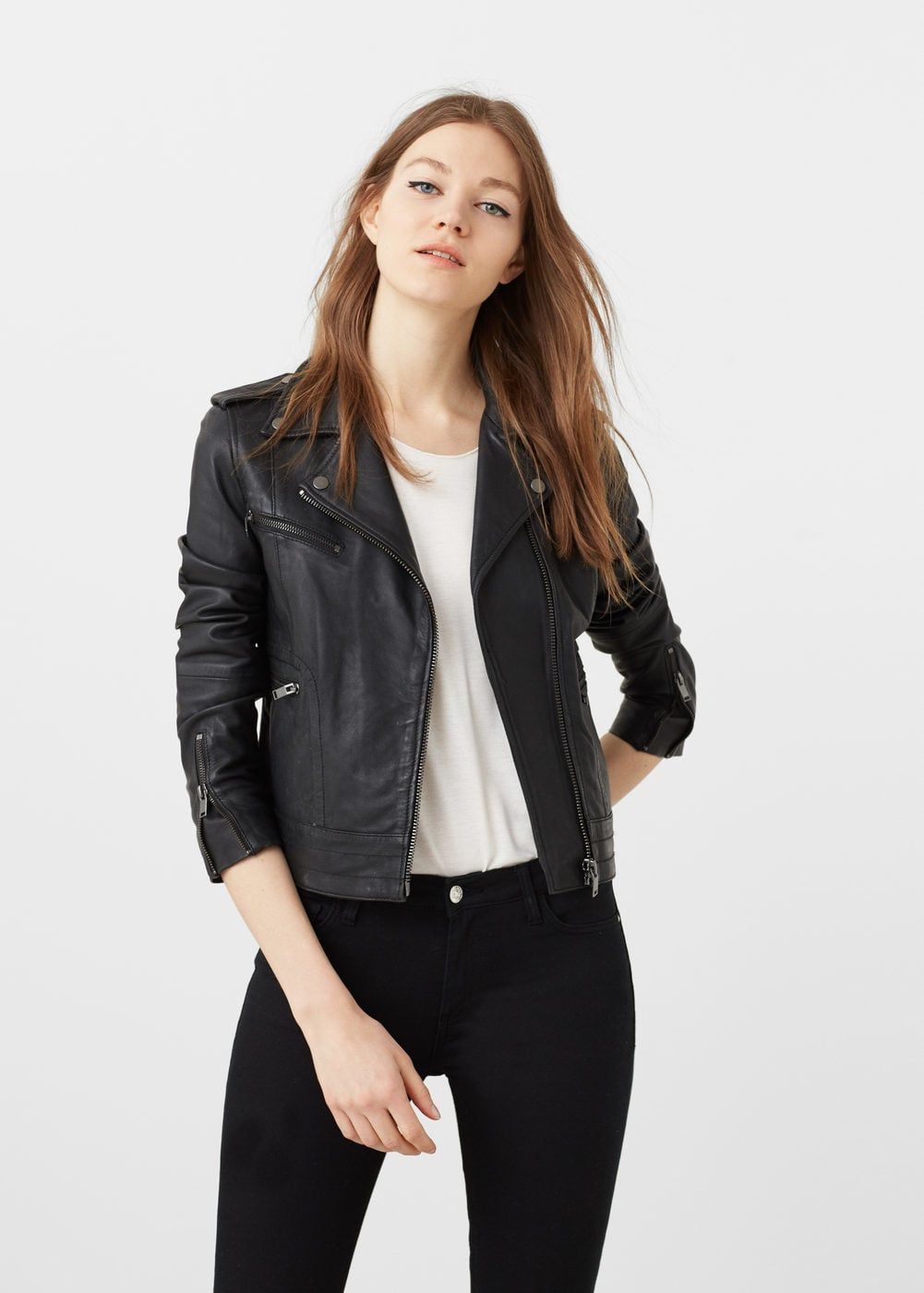 844476a3f Leather biker jacket - Women | OUTLET USA | Hold over | Jackets, Buy ...