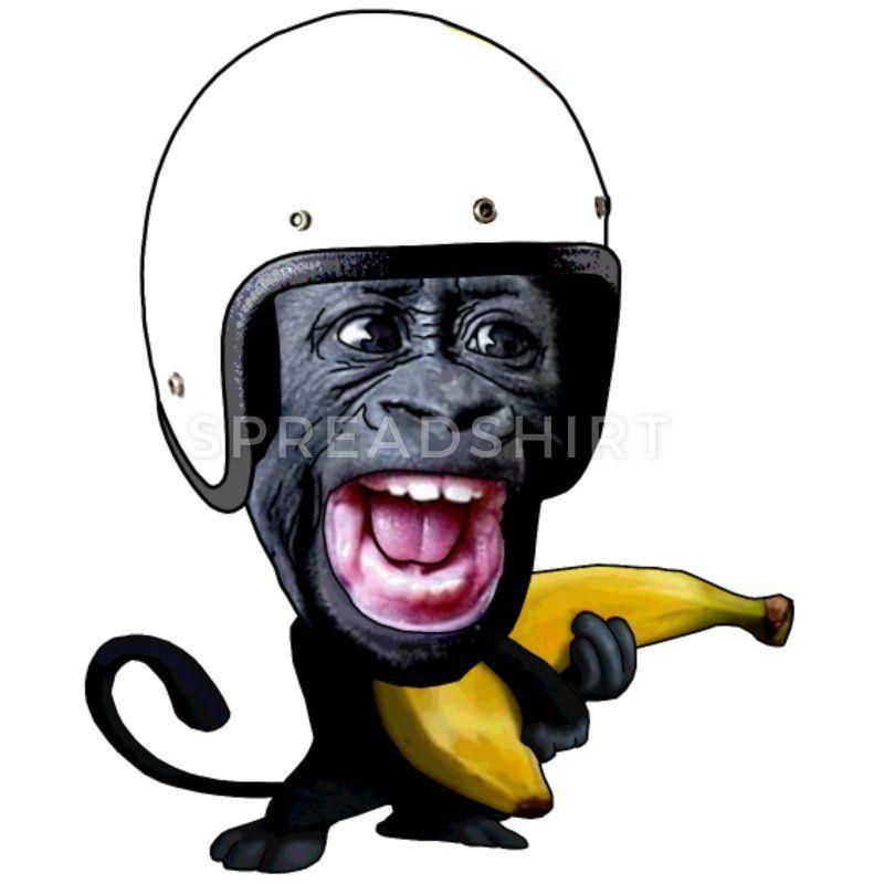 Affe Mit Banane Manner Premium T Shirt Schwarz Affen Bananen