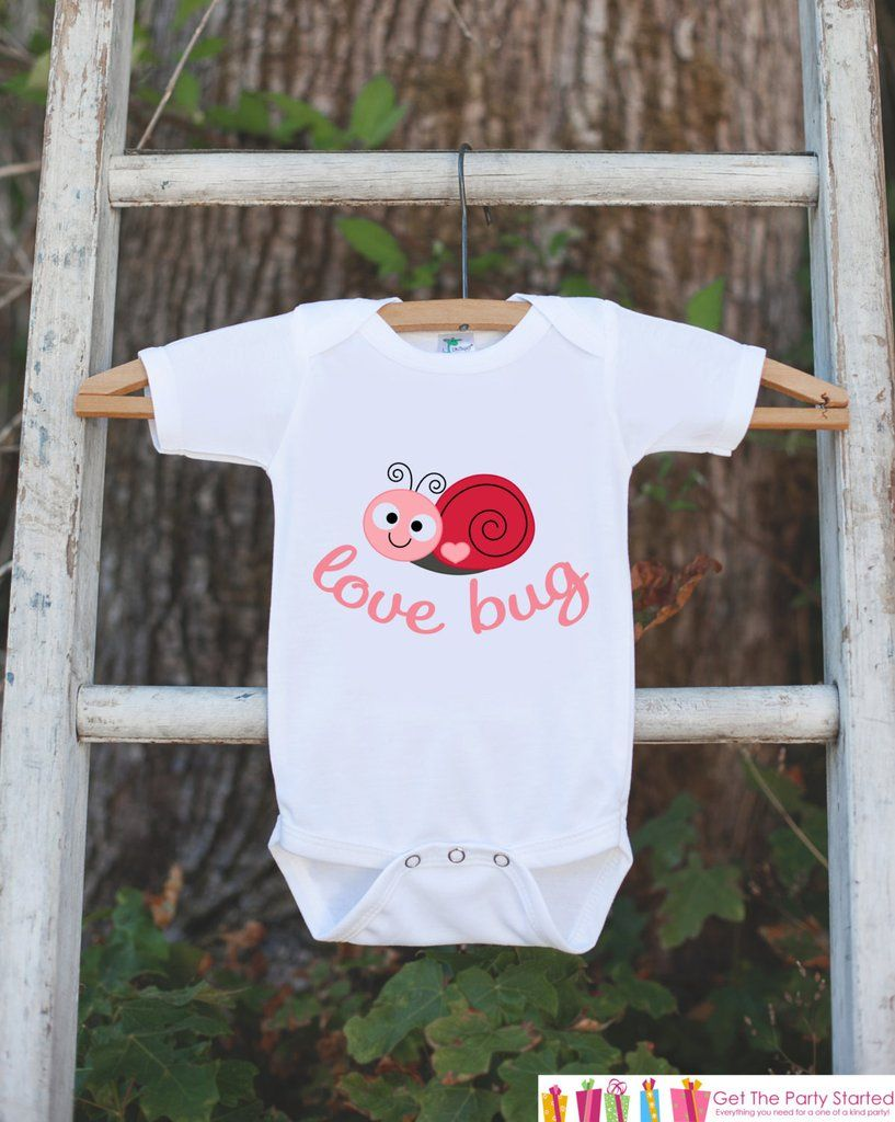 67559ab22 Novelty Love Bug Outfit For Baby Girls - Valentine's Day Love Bug Onepiece  - Pink & Red Snail - Baby Shower Gift for Newborn Baby Girls