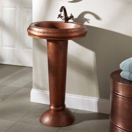 Bari Hammered Copper Pedestal Sink With Images Pedestal Sink Pedestal Sink Bathroom Glass Sink