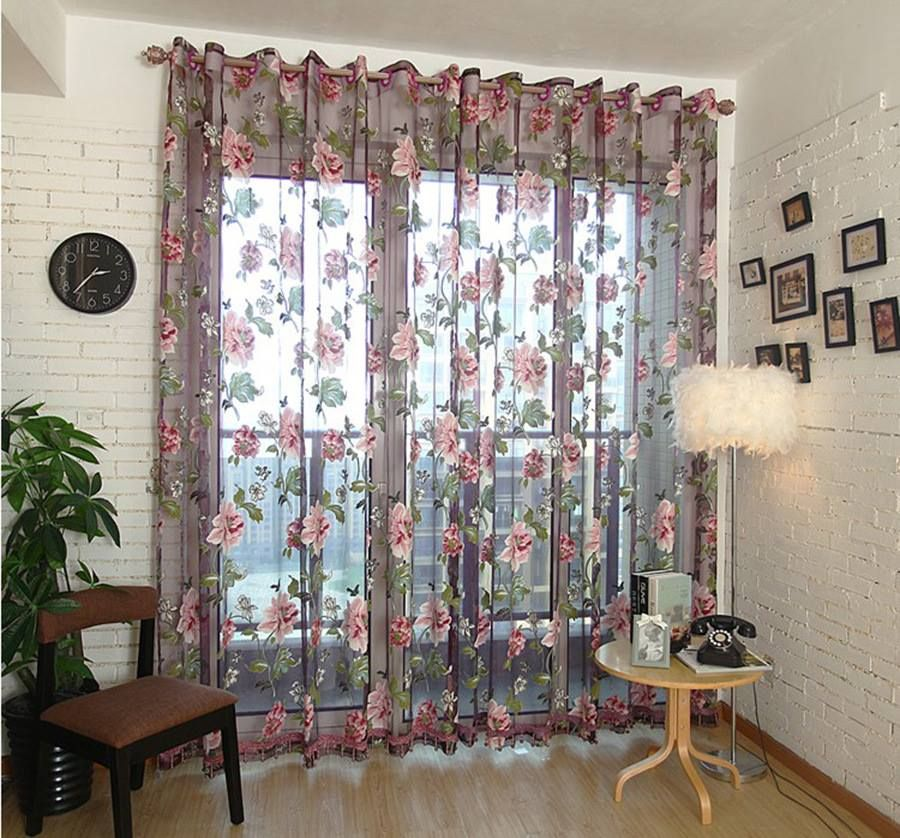 Peony Flower Voile Curtain Tulle Curtains Dry Transparent Panel Window Room Divider Sheer Home Textiles
