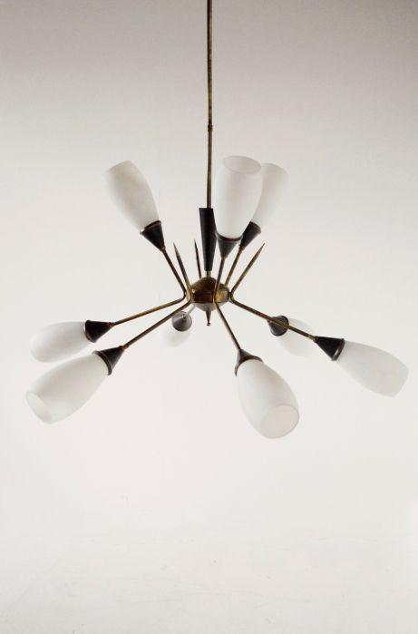 Midcentury 1950s Italian Stilnovo Chandelier Lamp Light Antique