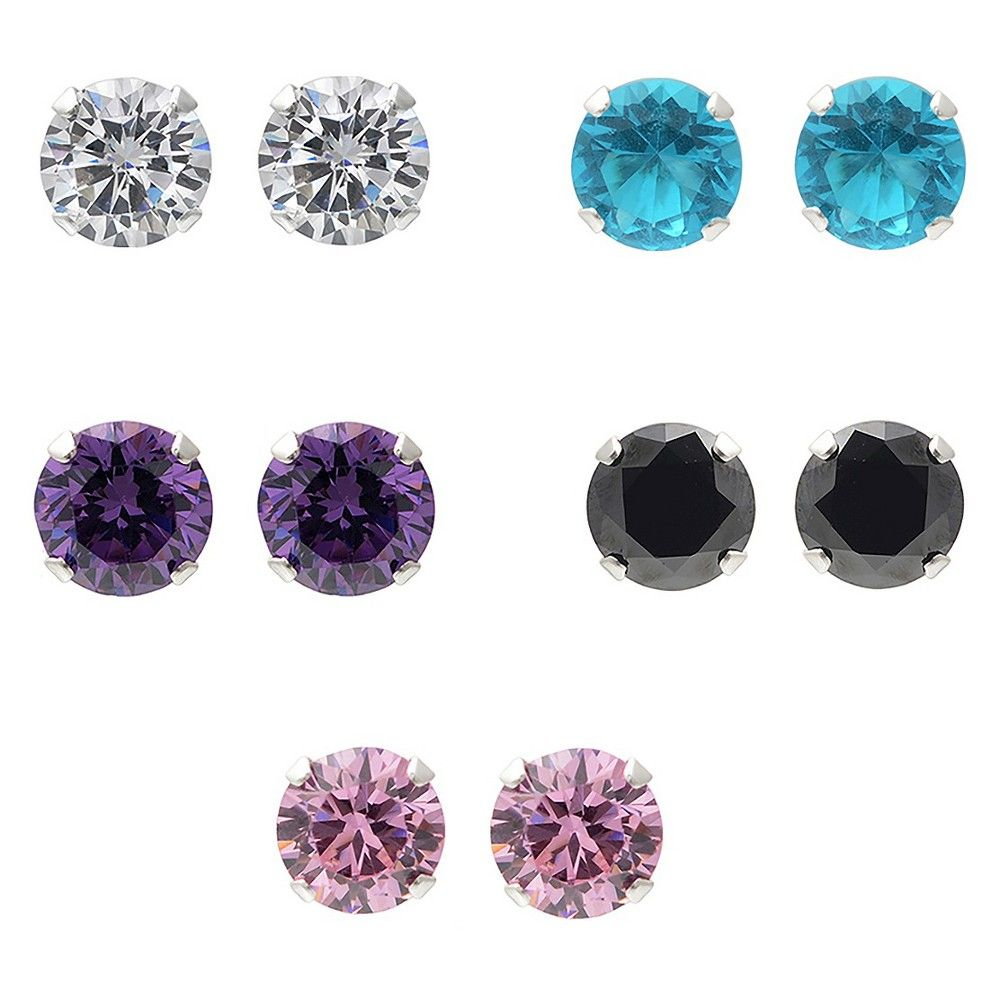 3 1/2 CT. T.W. Round-cut CZ Round Five-piece Prong Set Earring Set in Sterling Silver - Multicolor, Women's, Multi-Colored