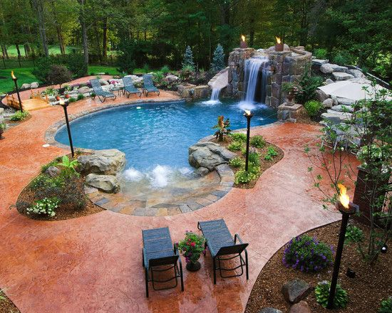 Breathtaking Pool Waterfall Design Ideas | Pool designs, Daybed ...