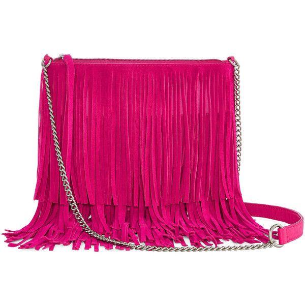 Arizona Medium Fringe Crossbody Bag (270 NOK) ❤ liked on Polyvore featuring bags, handbags, shoulder bags, fringe crossbody purse, zipper handbag, pink fringe purse, cross body fringe purse and pink purse