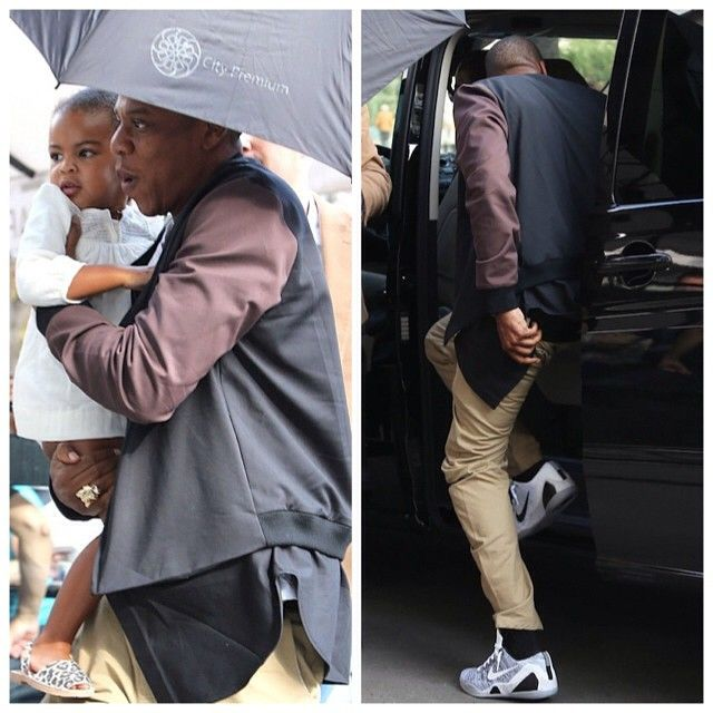 Jay Z wears 3.1 Phillip Lim Detachable Bomber Jacket and Nike Kobe IX  Beethoven Sneakers |