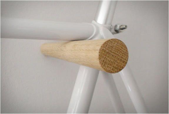Fluoshop wood peg minimal bike hook wall storage rack