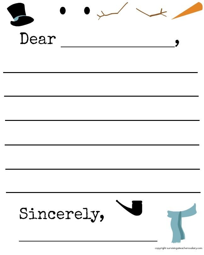 FREE Snowflake and Snowman Winter Letter Template Printable - christmas letter template free