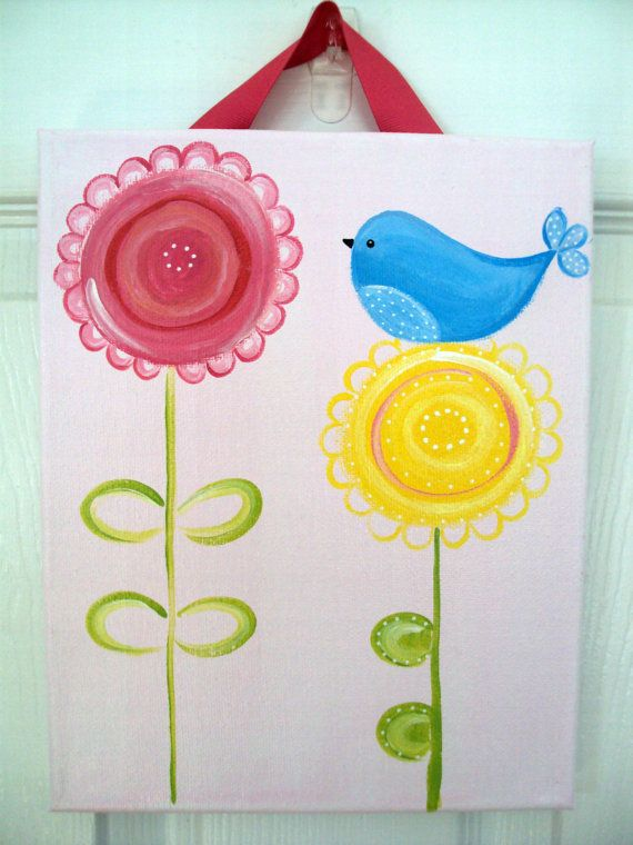 8x10 birdie canvas by HomemadeHeartworks on Etsy, $20.00
