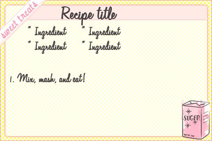 Sweet Treats Recipe Card Templates  Free Printables Recipe Cards