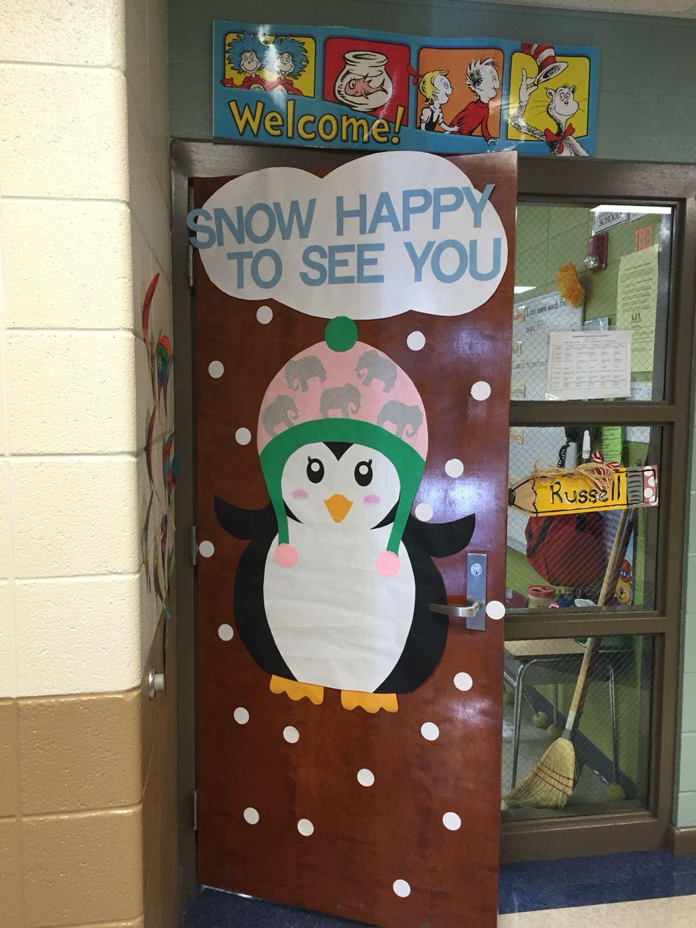 Penguin winter door teacher doors pinterest