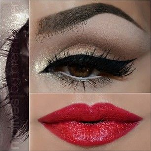red lip.winged liner. glitter. brows