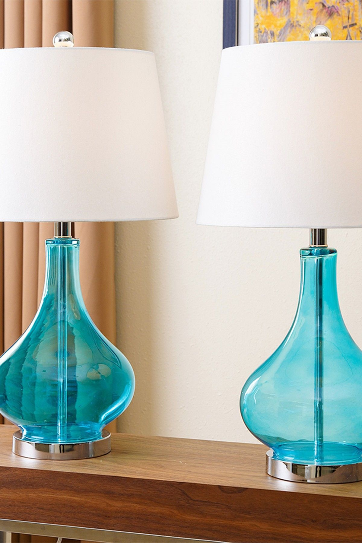 blenko handblown rejuvenation lamp turquoise table catalog products carafe