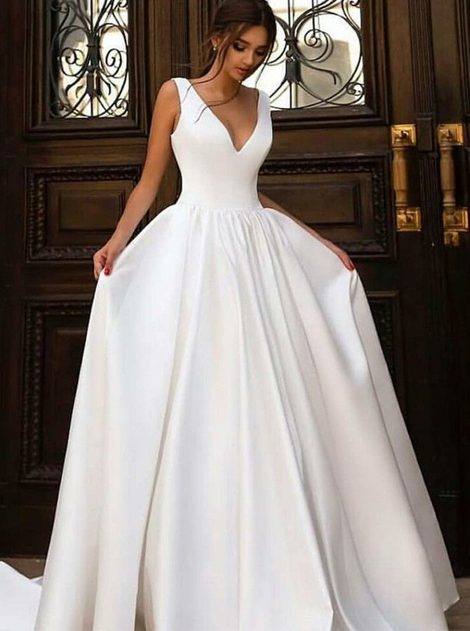 A-Line V-Neck Sweep Train White Satin Wedding Dress Bridal Gown #civilweddingdresses