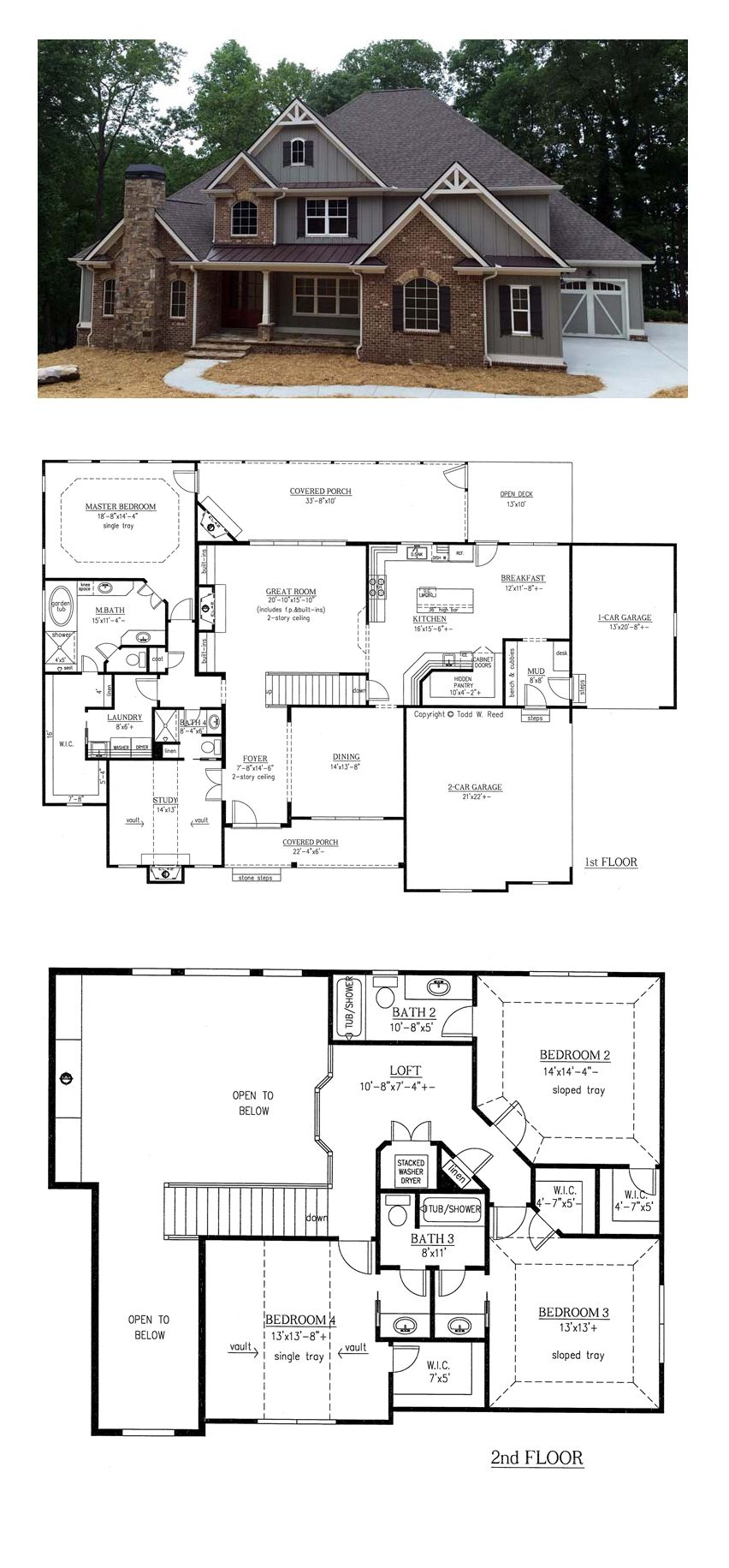 French country house plan 50263 total living area 3290 sq ft 4 bedrooms and 4 bathrooms - Best house plans for a family of four ...