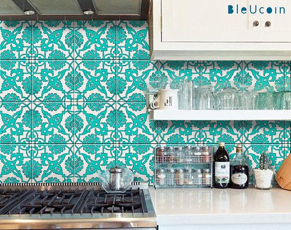 Indian Hand Painted Tile Decal These Tile Motifs Were Found In Royal Courts Of Indian Maharajah In Ancient Time Our I Tile Decals Painting Tile Kitchen Tiles