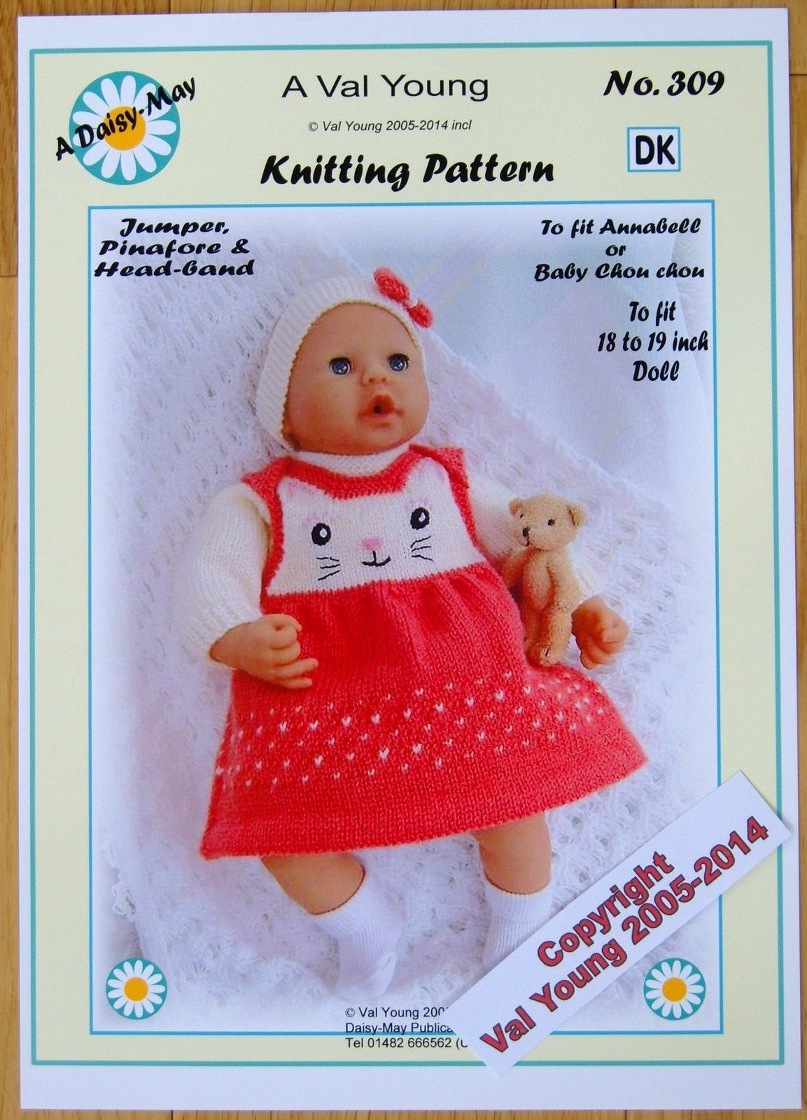 1 DOLLS KNITTING PATTERN DAISY-MAY No.309 for Annabell or17 to 19 ...