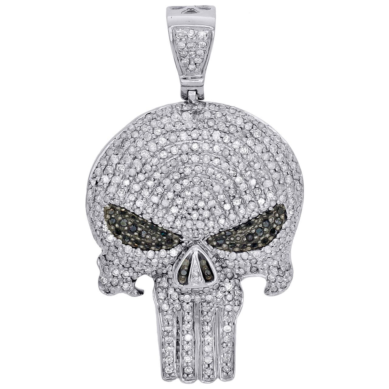 10k White Gold White Black Diamond Punisher Skull 1 70 Pendant Charm 1 65 Ct Exclusive Pendants Skull Pendant Fancy Diamonds