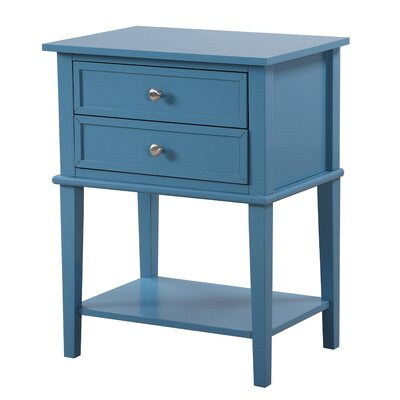 Charlton Home Marydel 2 Drawer Nightstand End Tables With Storage End Tables Blue Nightstands