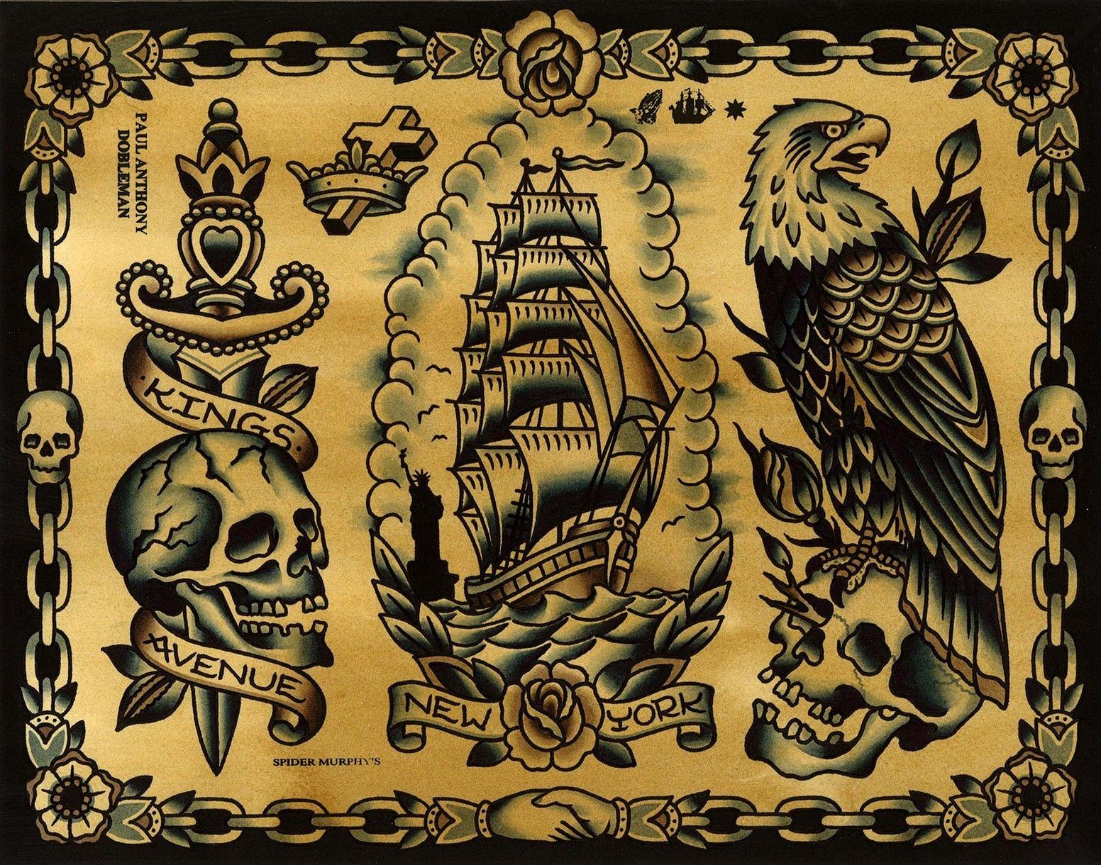 1ab29cbf1 Tattoo Flash, Kings Avenue Tattoo, New York, Eagle Tattoo, Ship Tattoo,  Dagger Tattoo