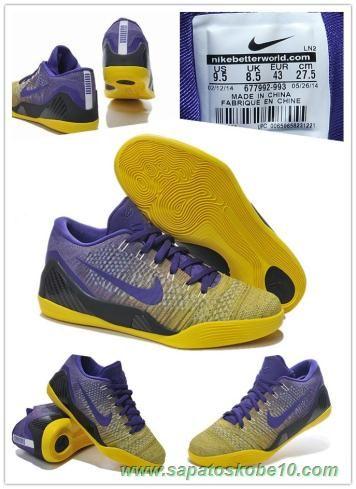 the latest 25381 3ab3b Masculino Nike Kobe 9 Elite 677992-993 Azul   Amarelo tenis para vender