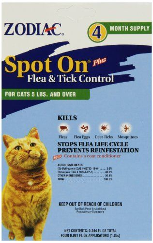 Zodiac Flea Tick Spot On For Cats 5 Lbs And Over 4 Pk Check This