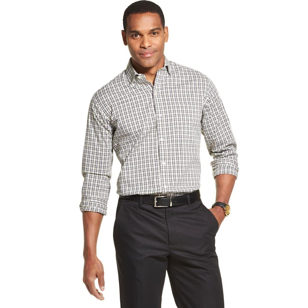 Van Heusen Men/'s Big and Tall Never Tuck Long Sleeve Button Down Print Shirt