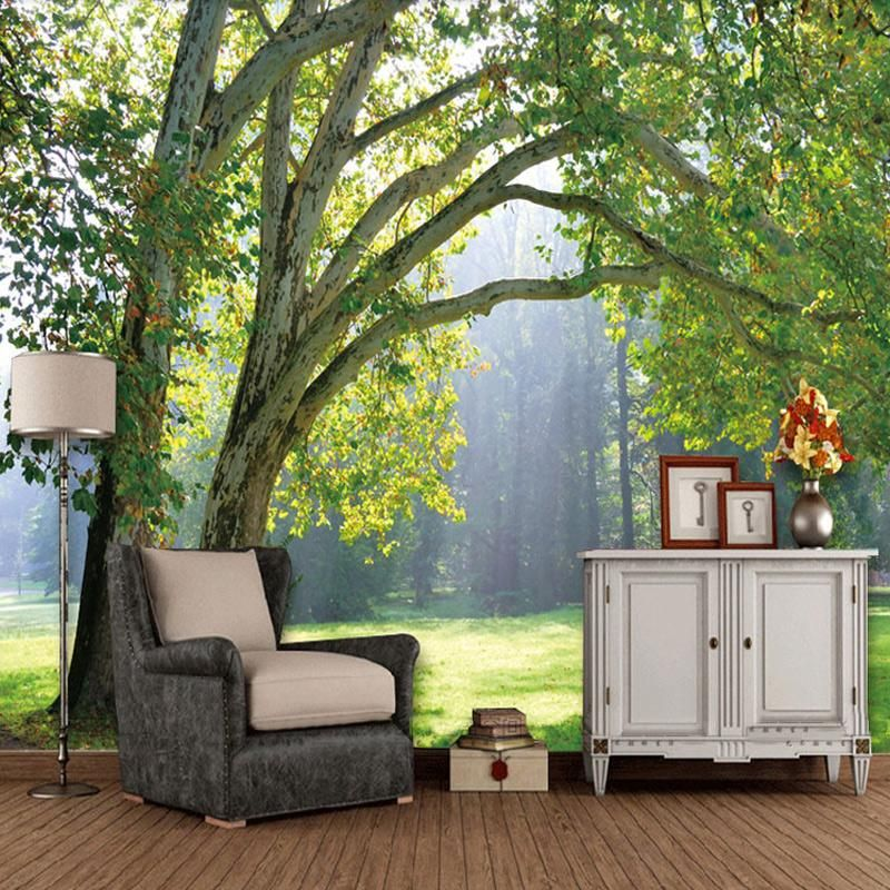 Green Forest Scenery Wallpaper Mural 3d Wallpaper Mural Wallpaper Living Room Mural Wallpaper