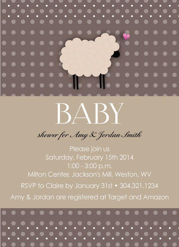 adorable sheep baby shower invitation customizable to your event, Baby shower invitations