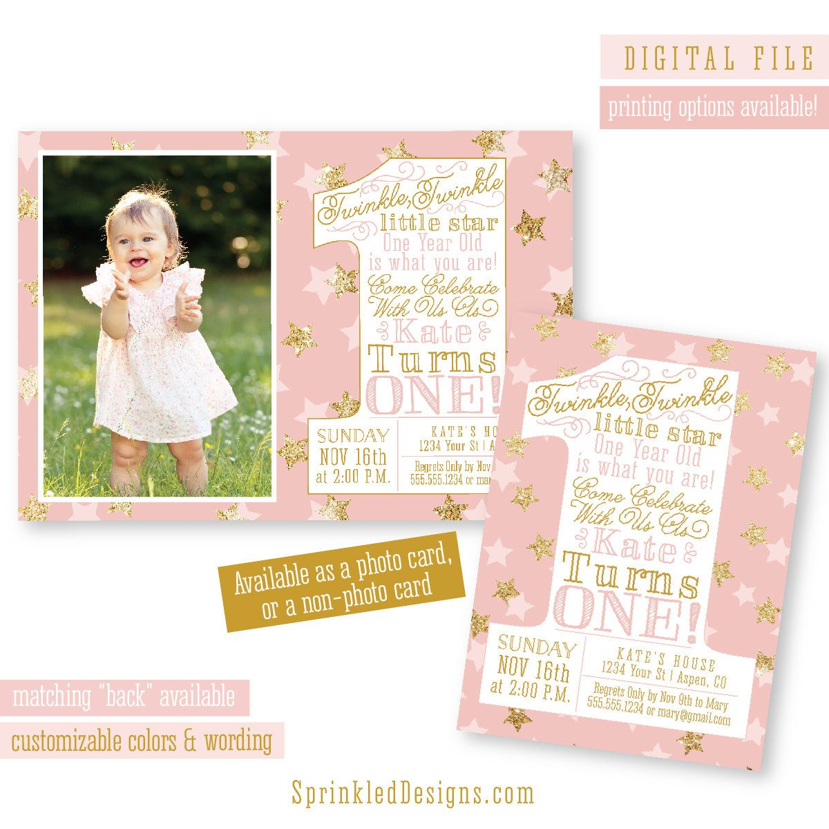 Twinkle Twinkle Little Star Invitation, Girl First Birthday Photo ...