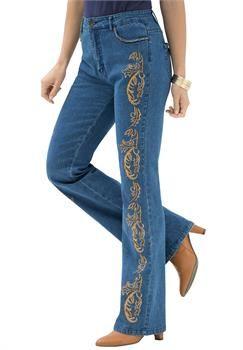 Plus Size Gold Detail Bootcut Jeans | The Denim Remix | Pinterest ...