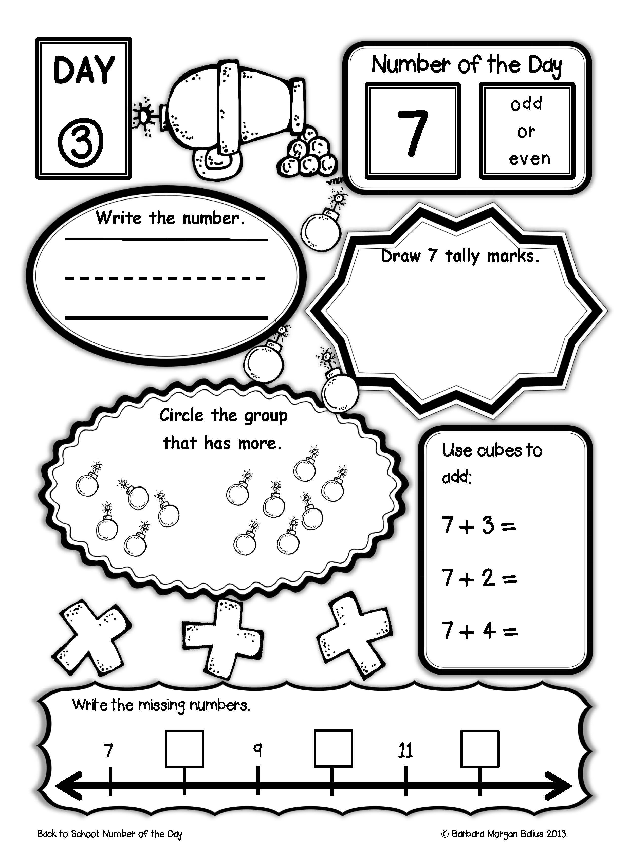 Back to School Pirate Theme Number of the Day! All students need daily  practice working with numb…   Math worksheets [ 3377 x 2482 Pixel ]