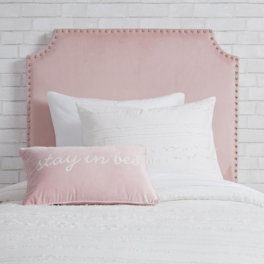 Pink Twin Twin Xl Powered Studded Velvet Headboard With Images Velvet Headboard Pink Headboard Velvet Bed Frame